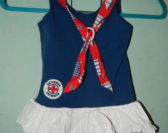 Vintage  1960's Beginner Swimmer Swimsuit, Childs Swimsuit, Size 6 Red, White & Blue, Sail Boats, Flags, White Ruffle Bottom, 50% Cotton