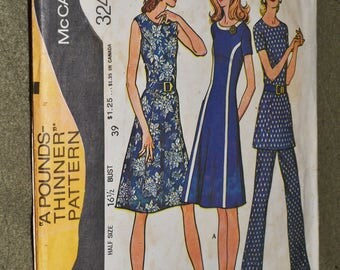 Vintage 70s Sewing Pattern McCall's 3243 Short Sleeved or Sleeveless A-line Dress or Tunic and Pants