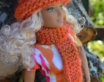 Barbie Hand Spun Hand Knitted Artistic Vibrant Orange Hat and Scarf Set