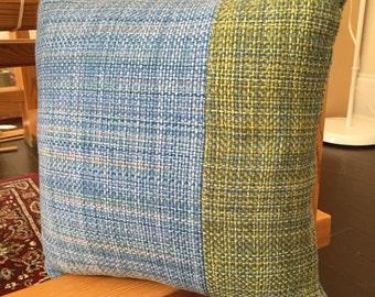 Handwoven Pillow/Plain Weave/Blue and Green