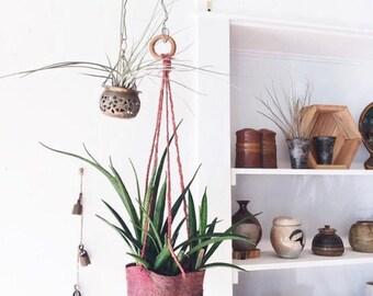 Vintage Woven Plant Hanger - ikat, basket
