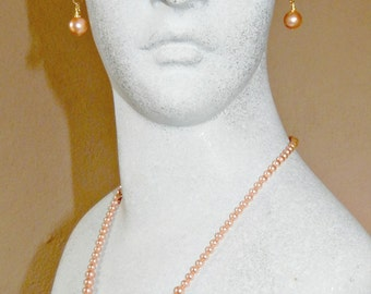Peach Rose Swarovski Crystal Pearl Necklace and Earrings