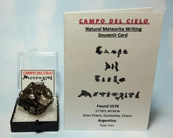 Rare METEORITE Campo Del Cielo Genuine 31.2 Gram Meteorite In Perky Mineral Specimen Box With Extraterrestrial Writing Card From Argentina