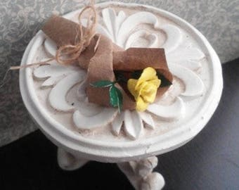 1:6 Scale Single Yellow Rose wrapped and tied in Brown Paper