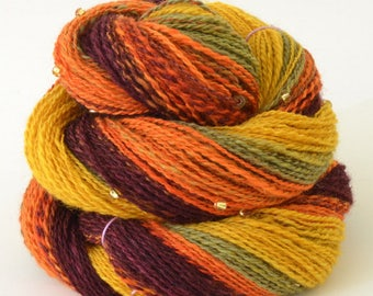 Handspun Yarn -  Spindle Spun Merino Beaded Yarn - Art Yarn- 1.75oz, 230yd, 17WPI