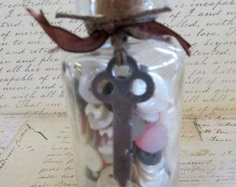 Vintage Bottle With Vintage Buttons & Skeleton Key-Vintage Decor