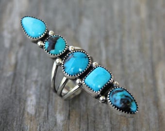 Nacozari turquoise ring - metalwork - sterling silver ring - silver and turquoise - statement ring - southwestern - bohemian ring