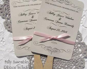 Wedding Fans - Wedding Hand Fans - Personalized Fans - Assembled Wedding Fans - Formal Wedding Fans - Summer Wedding - Wedding  Favor Fan