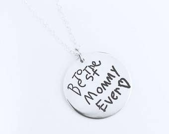 Silver Handwriting Pendant Necklace, Memorial Handwriting Pendant, Mothers Day Gift for Mom, Sympathy Gift, Graduation Gift