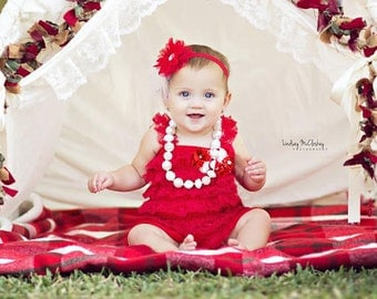 Christmas Outfit Baby Girl Baby Lace Romper Headband Necklace SET, Red and White Romper And Baby Headband, Baby Christmas Holiday