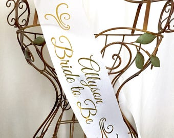 Bride to Be Sash and Bridal Party Sashes with Names