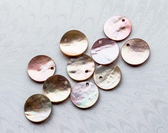 Ten Pale Pink/Mauve Mother of Pearl Shell Discs,Drilled Hole,Disc Charm 1.5cm (5/8ths ins) Diameter (lot 10) FREE UK Postage