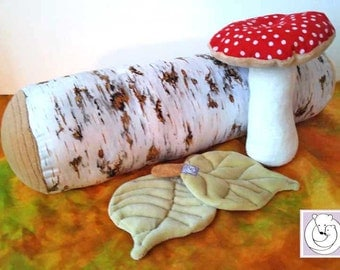 Nature Table Toys, Waldorf inspired ,Birch  Log and Leaves and Mushroom Set