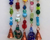Glass Beaded Wind Chime with Crystals and Bells, Jewel Toned
