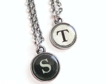 Sarah - antique Silver Typewriter Key Style Necklace - Initial Necklace - Typewriter Key Jewelry - Personalized Necklace