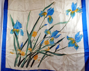 Vintage Silk Scarf - Bouquet of Iris - Signed Sophie and dated 1989