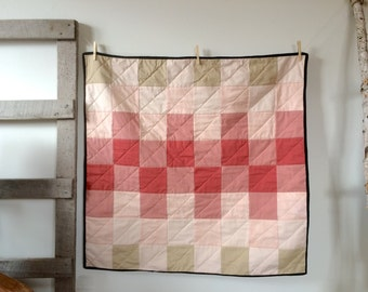 Baby Quilt | Modern Baby Quilt | Ombre Muted Peach Pink Dusty Rose Patchwork | Crib Quilt | Gradient Quilt