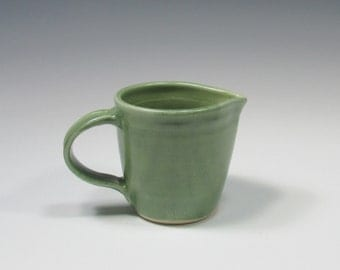 Creamer - Small Pitcher - Ceramic Creamer - Pottery Pitcher - Green Creamer - Syrup Pouring Pitcher - Mixing Cup - Pourer - Green Pottery