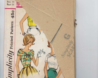 1960s Vintage Sewing Pattern Simplicity 3915 Misses Fitted Blouse Size 14 Bust 34 60s