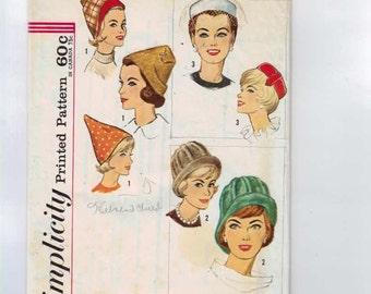 Vintage 1960s Craft Pattern Simplicity 4677 Misses Set of Hats Cap Pillbox 1960s 60s