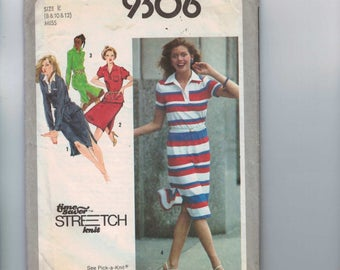 1970s Vintage Sewing Pattern Simplicity 9306 Misses Pullover Polo Shirt Dress or Top and Skirt Size 8 10 12 Bust 31 1/2 32 1/2 34 1979 70s