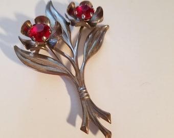 Vintage 1930'  40' Red Floral Brooch Spray  Pin
