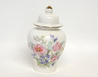 Small White Ceramic Ginger Jar with Floral Design Incorporating Pink Peonies & Purple Irises