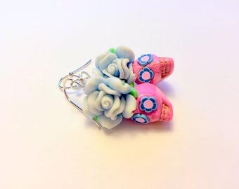 Sugar Skull Earrings Day of the Dead Skull and Rose Earrings in Pink and Blue