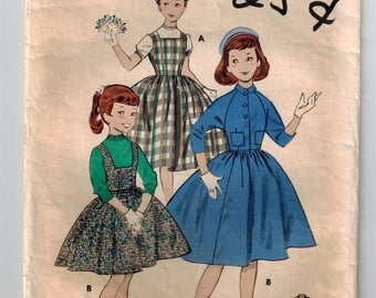 "Vintage Girl's Jumper plus ""Dutch Boy"" Shorty Jacket Sewing Pattern Butterick 8256 Size 10 Breast 28 Raglan Sleeves Square Neckline Vestee"