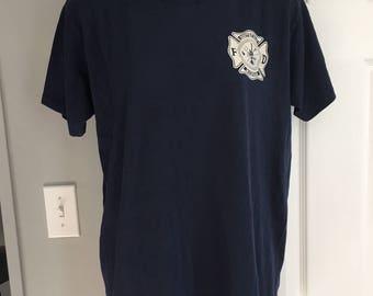Vintage 1980s southfield fire department navy blue t-shirt velva sheen 50/50