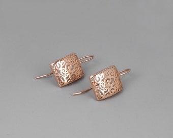 Rose Gold Earrings, Filigree Earrings, Delicate Earrings, Moroccan Earrings, Victorian Earrings, Lace Filigree Earrings, Bohemian Earrings