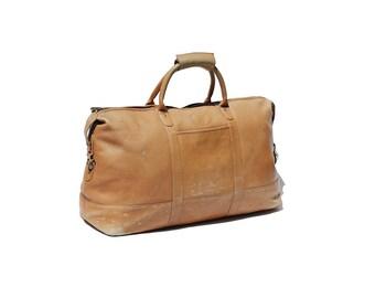 Vintage Tan Leather Large Holdall Travel Bag