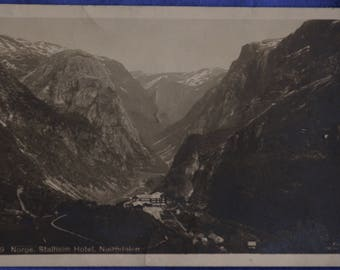 Norge Norway Hotel Stalheim Naerodalen View from Mountains 20th Century Postcard