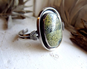 Tree Frog Variscite and Sterling Silver Statement Cuff small wrist