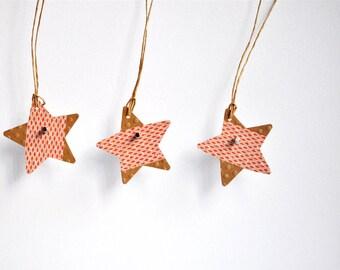 Orange Print Star Tags {10} | Kraft Star Tags | Japanese Paper Tags | Christmas Star Tags | Holiday Star Tags | Japanese Star Tags