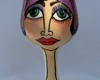 Humorous Faces Handpainted Functional Ceramic Wine Glass on Etsy