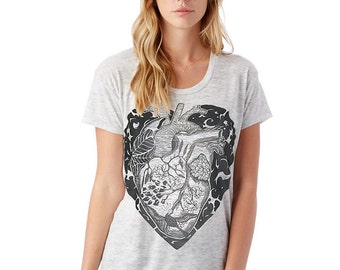 Women's T shirt, Graphic Tee, Gift Women, Anatomical Heart Slouchy fit T shirt, Heather Gray Burnout Shirt, Womens top shirt