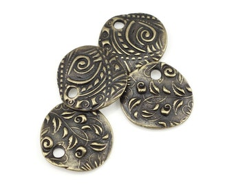 "Antique Brass Charms Brass Oxide TierraCast 5/8"" JARDIN CHARMS Bronze Charms Nature Woodland Flower Organic Bohemian Charms (P1386)"