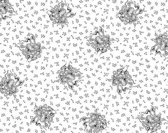 Octopus White Black Domino Kathy Hall Andover Fabric 1 yard