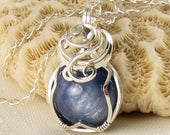Kyanite Necklace - Blue Gemstone Pendant - Wire Wrapped - Kyanite Jewelry - Kyanite Jewellery - Cyanite - Blue and Silver
