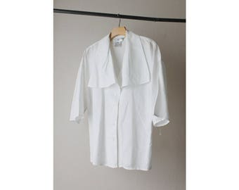 1980s White Linen Cotton Square Collar Top