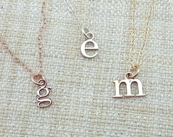 Tiny Initial Necklace - Gift - Custom Initial Jewelry -  Mom Gift - Silver Initial Necklace - Stocking Stuffer