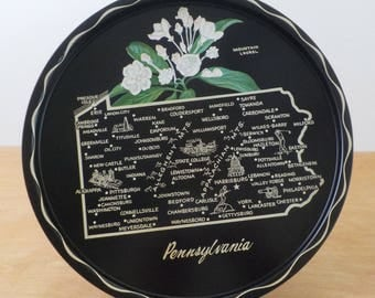 Souvenir Serving Tray Pennsylvania  • Vintage Metal Serving Tray • State Souvenir