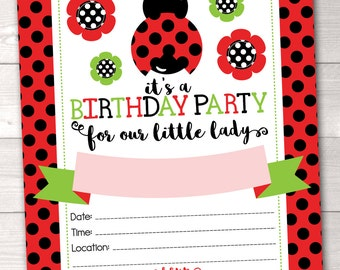 Printable Ladybug Birthday Party Invitation Girls Instant Download Birthday Party Invite in Red Green and Black