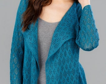 Bamboo Lace Cardigan - Teal