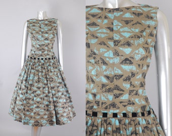 Natlynn Originals tiki print dress | 1950s novelty print dress | vintage 50s dress