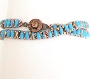 beaded wrap bracelet handmade turquoise and copper festival bracelet superduo bracelet boho bracelet seed bead bracelet hippie  bracelet