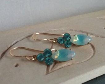 Aqua Swarovski Crystal Earrings - Prom Earrings - Aqua Glass and Crystal Earrings - Gift Ideas For Girlfriends - For Moms