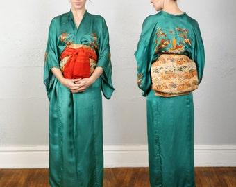 SALE- Vintage Silk Kimono & Obi Belt