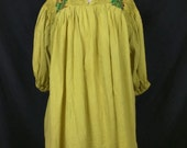 Vintage Floral Embroidered Mexican Tunic Top Chartreuse Green XL
